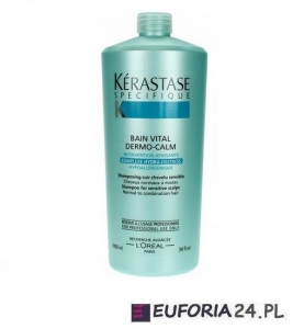 Kerastase  Bain Vital Dermo Calm, szampon, wzbogacona kąpiel kojąca, wrażliwa skóra głowy, 1000ml